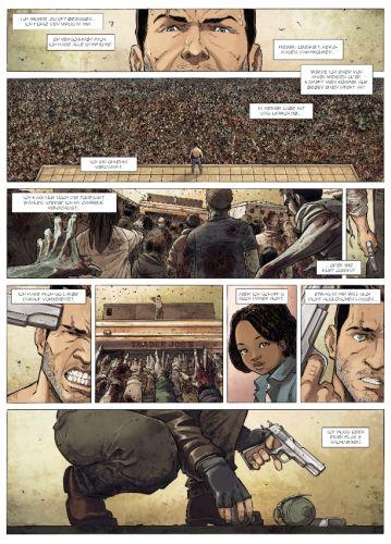 Kluge Panel-Aufteilung: Sam, belagert von Zombies