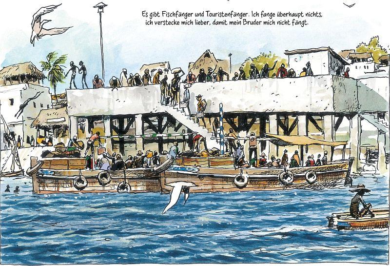 Band 1, Seite 83. Der Anleger im Hafen.