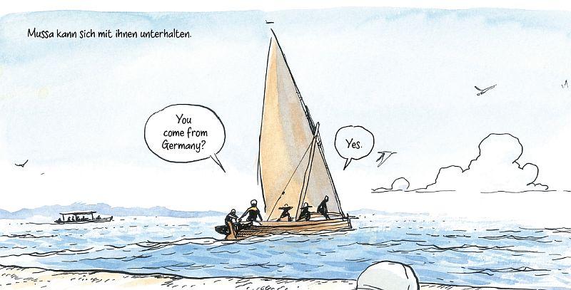 Band 1, Seite 86. Ein Boot mit deutschen Touristen.