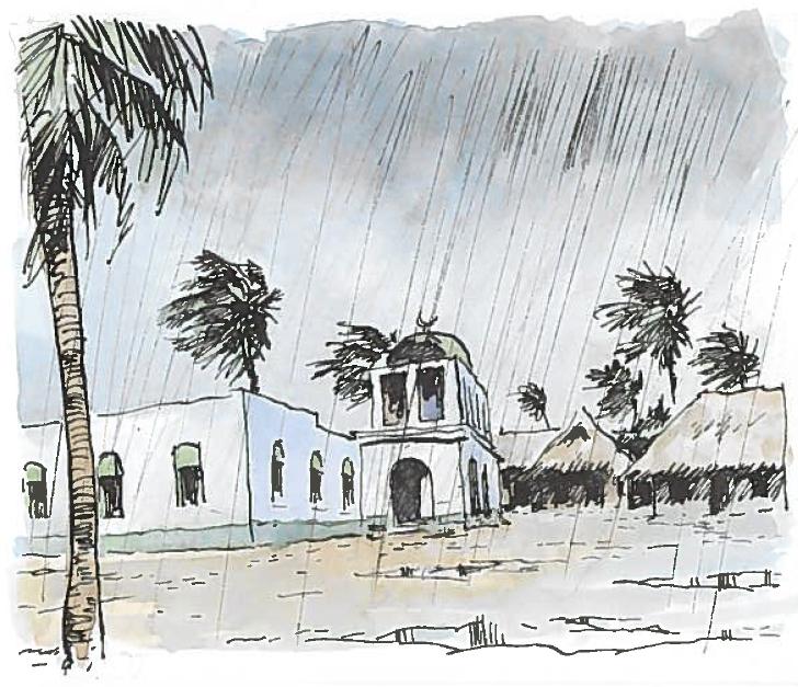 Band 2, Seite 72. Die Riyadha Moschee im Regen.